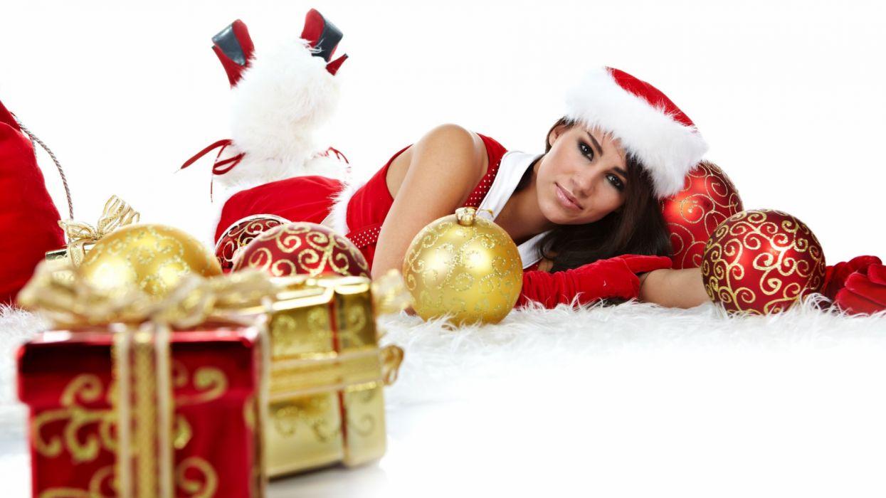 navidad mujer regalos bolas adornos holiday wallpaper