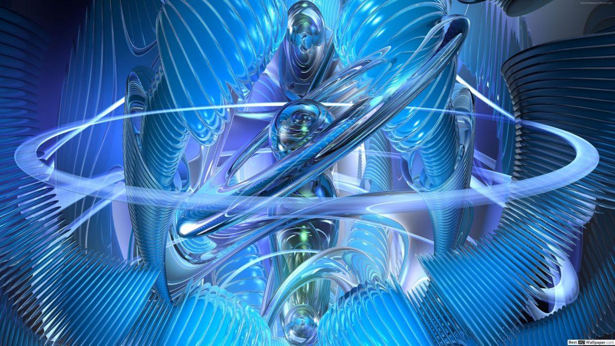 fractales azules abstractos wallpaper