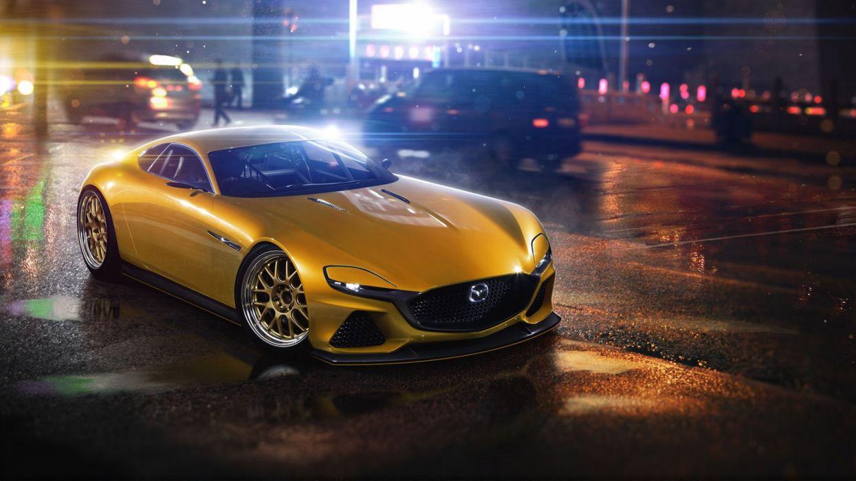 mazda concept amarillo coche wallpaper