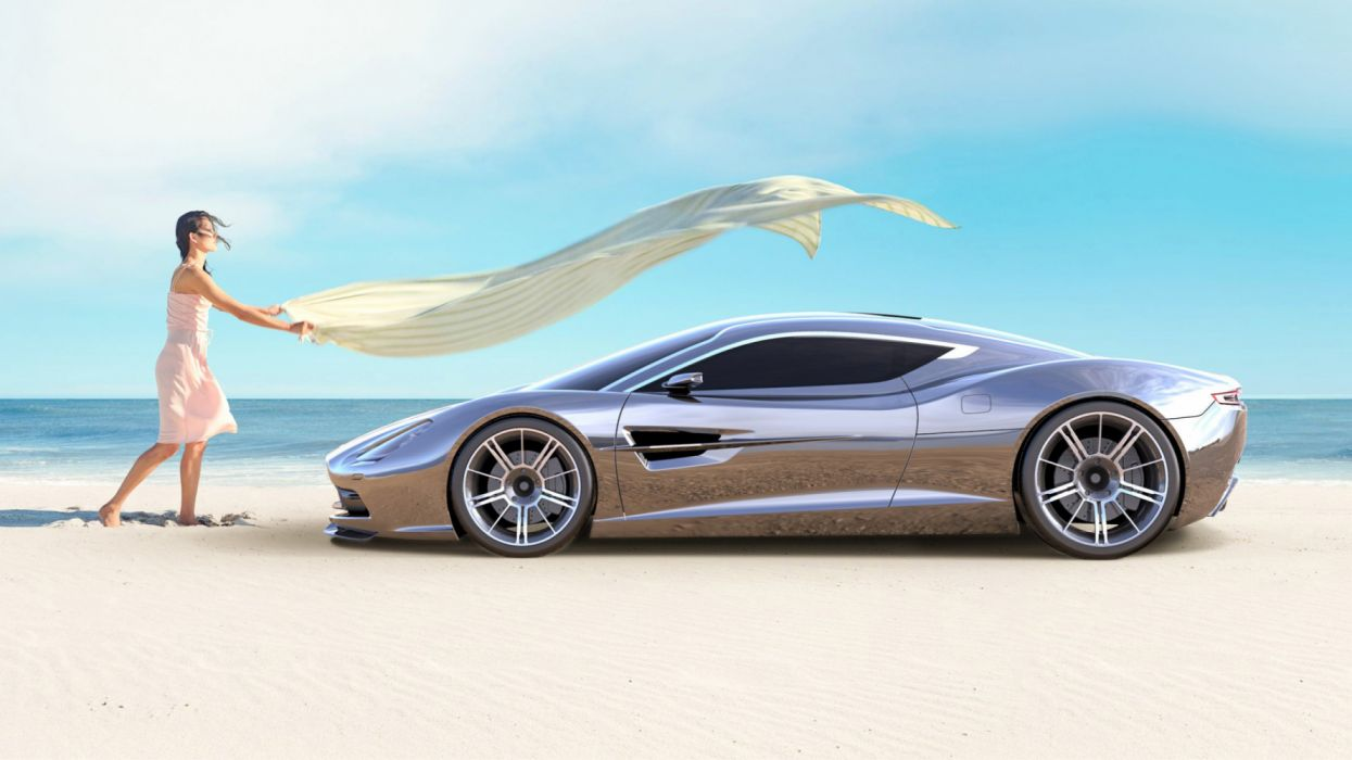 aston martin concept silver side view sea girl wallpaper
