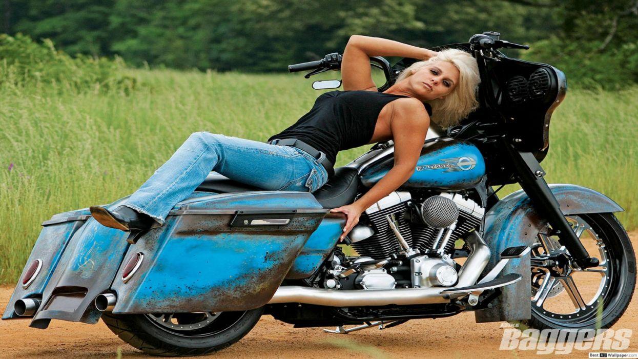 modelo rubia moto harley davidson azzul wallpaper