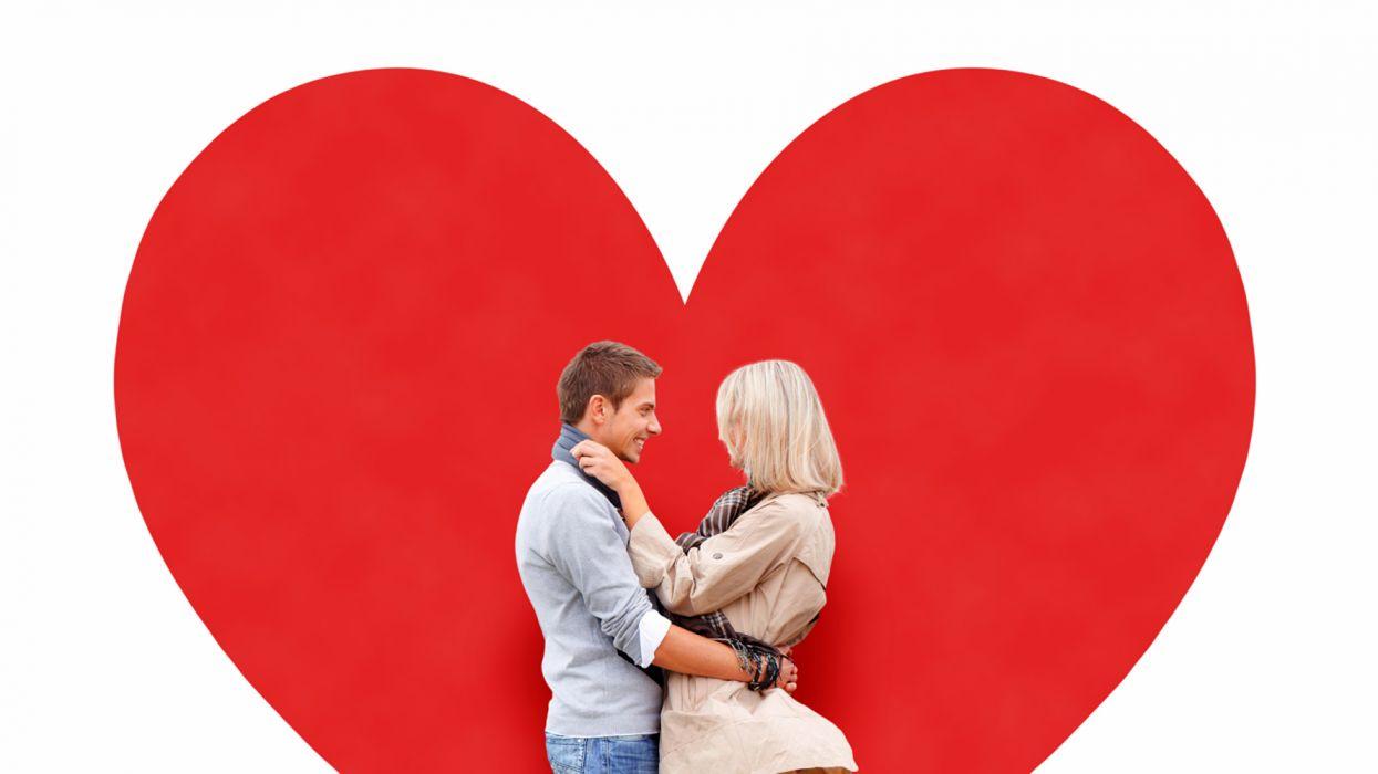 Valentine's Day Men Love White background Two wallpaper