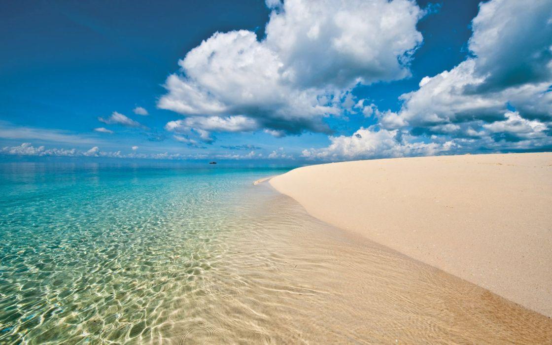 playa mar nubes naturaleza wallpaper
