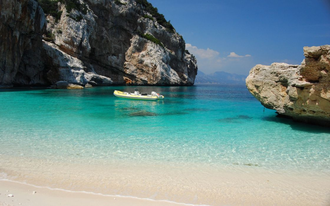 Ocean Beach Boat italy Peninsula Sardinia wallpaper