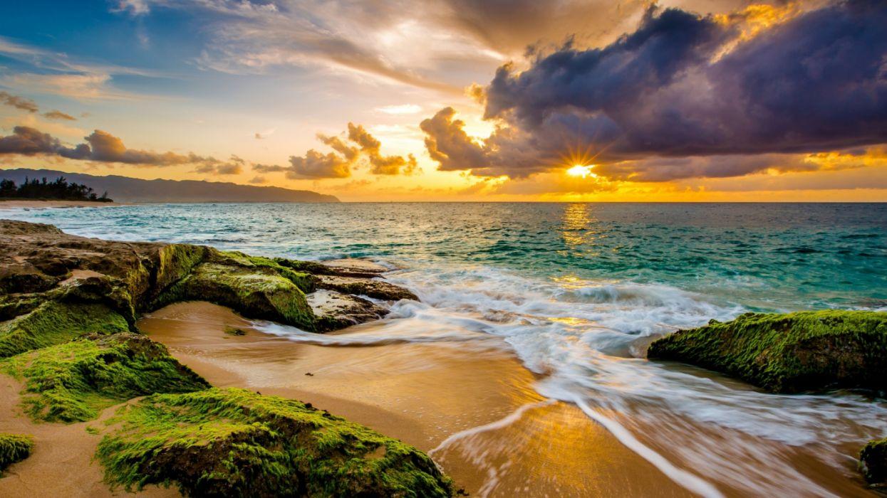 playa atardecer hawaii naturaleza mar wallpaper