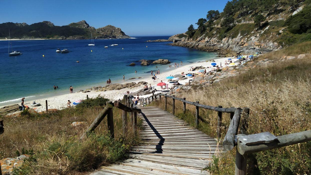 playa mar escaleras naturaleza wallpaper
