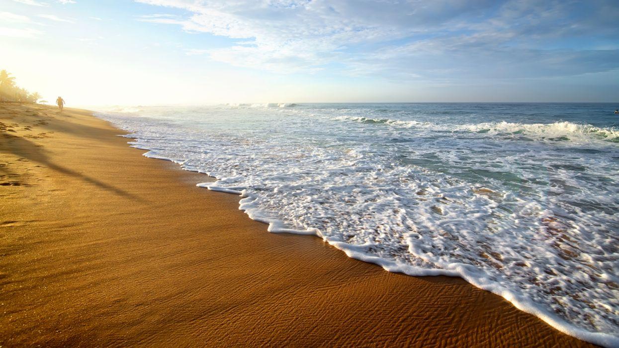 Sri Lanka Coast Waves Sky Beach wallpaper