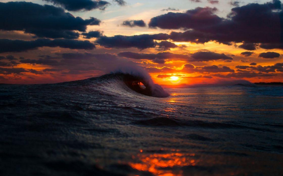 amanecer mar ola naturaleza nubes wallpaper