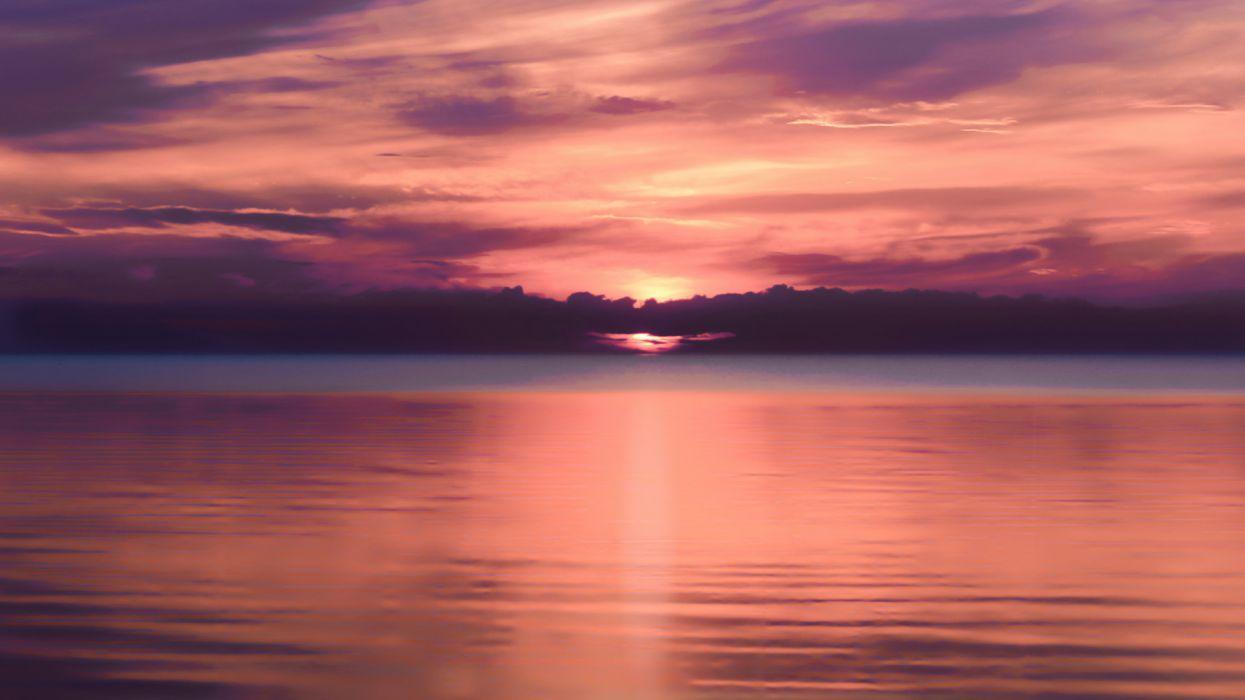 puesta sol mar nubes naturaleza wallpaper