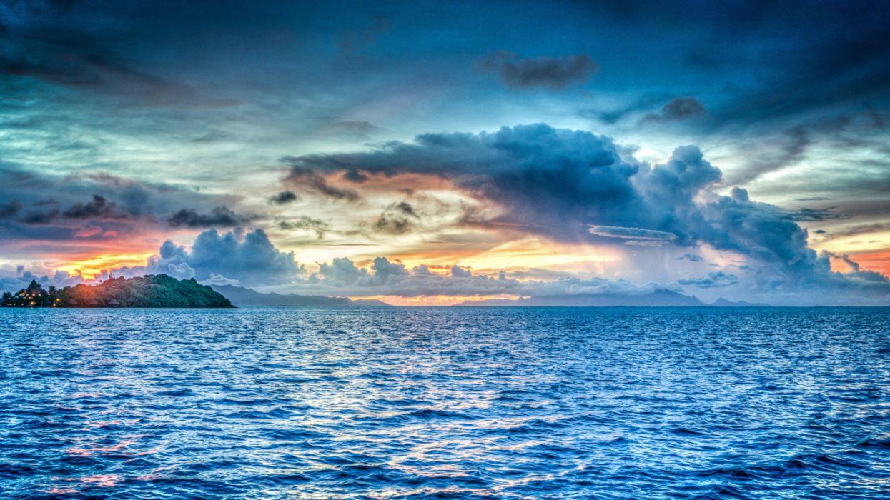 bora bora french polynesia sunset ocean pacific wallpaper