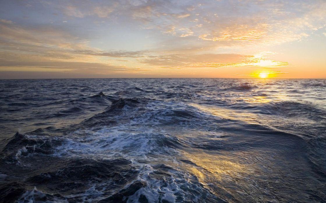 Nature Sundown Deep sea at sunset wallpaper