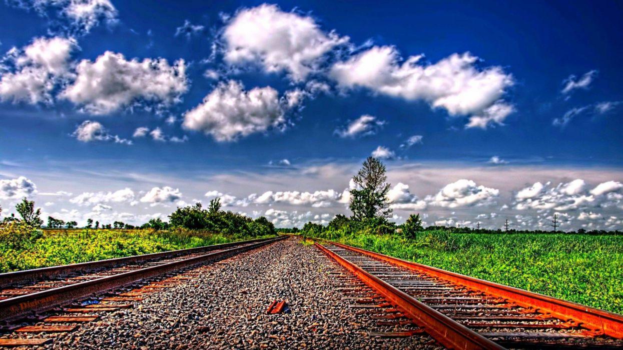 cielo azul nubes vias tren naturaleza wallpaper