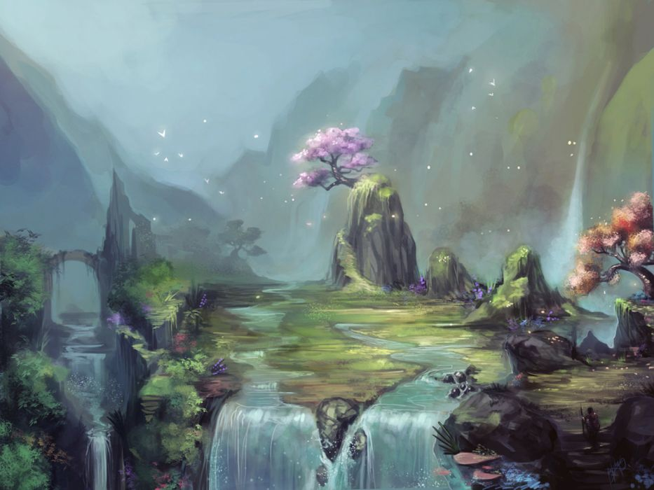 water mountains trees sky nature birds drawings widescreen wallpaper