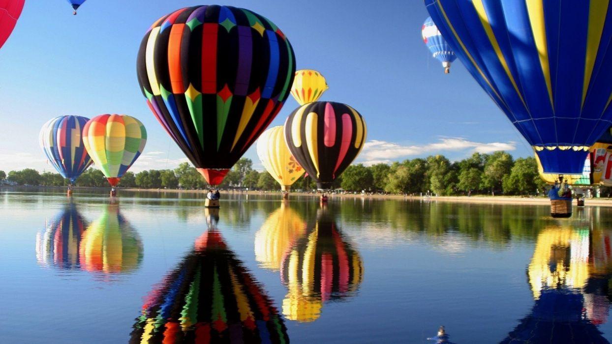 balloons Hot Air Balloons lake reflection wallpaper