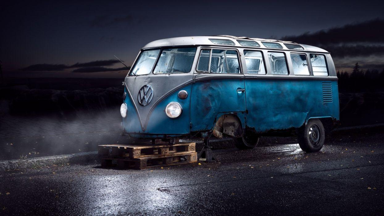 dark Volkswagen blue vehicle furgoneta wallpaper