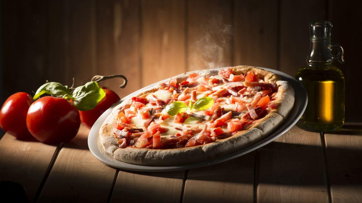 Fast food Pizza Tomatoes Wood planks wallpaper