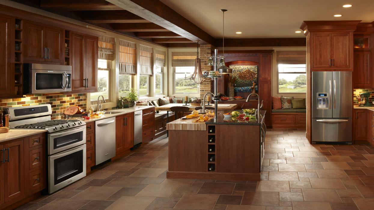 cocina moderna interior armarios electrodomesticos wallpaper