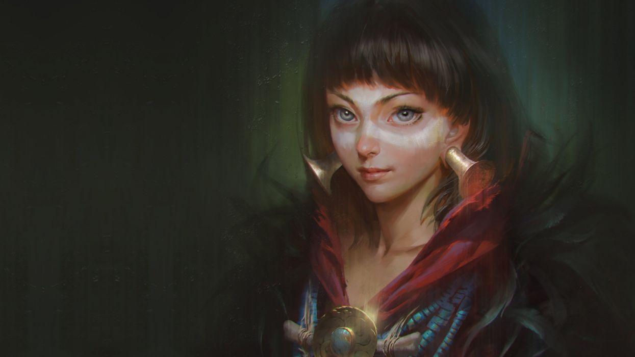 Fantasy girl art painting wallpaper