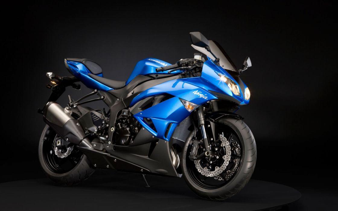 Kawasaki Ninja bike sports blue black wallpaper