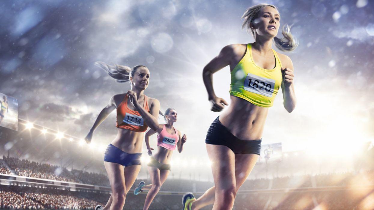 sport Blonde girl Run Uniform Belly Hands wallpaper