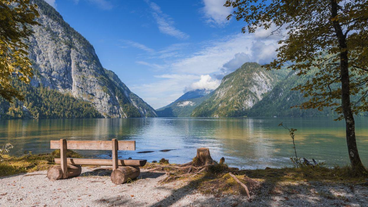 Mountains Lake Scenery Germany Bench Bavaria wallpaper