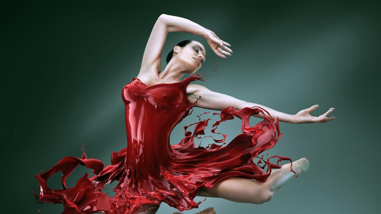 dancing girl red music wallpaper