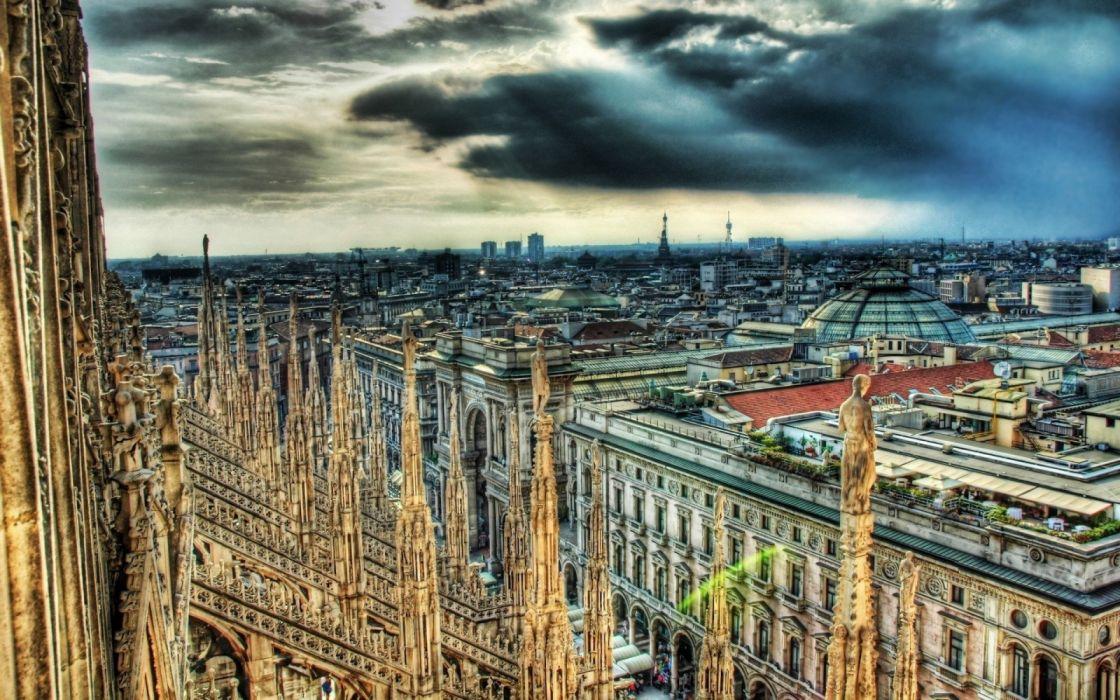 city milan italia nubes catedral wallpaper