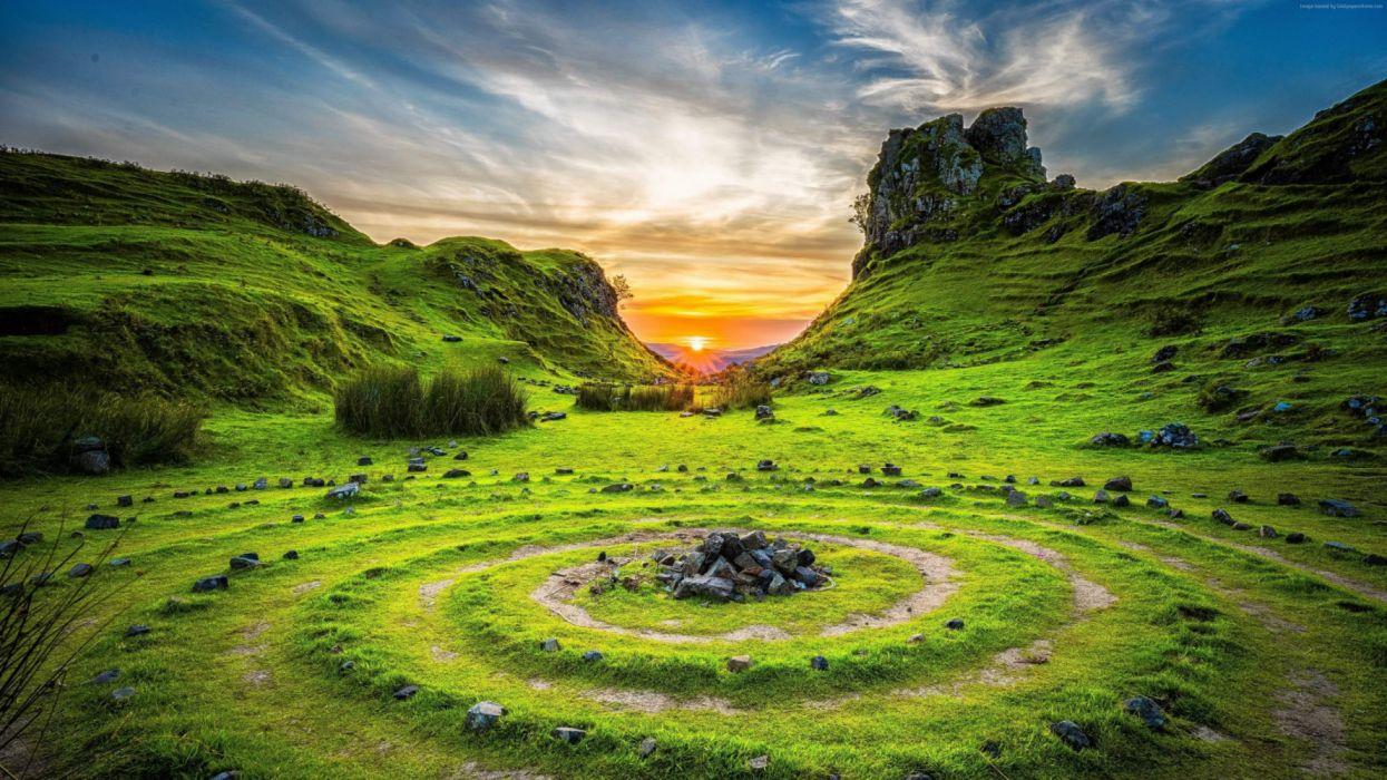 lanscape Fairy Glen Isle Skye Scotland Europe nature wallpaper