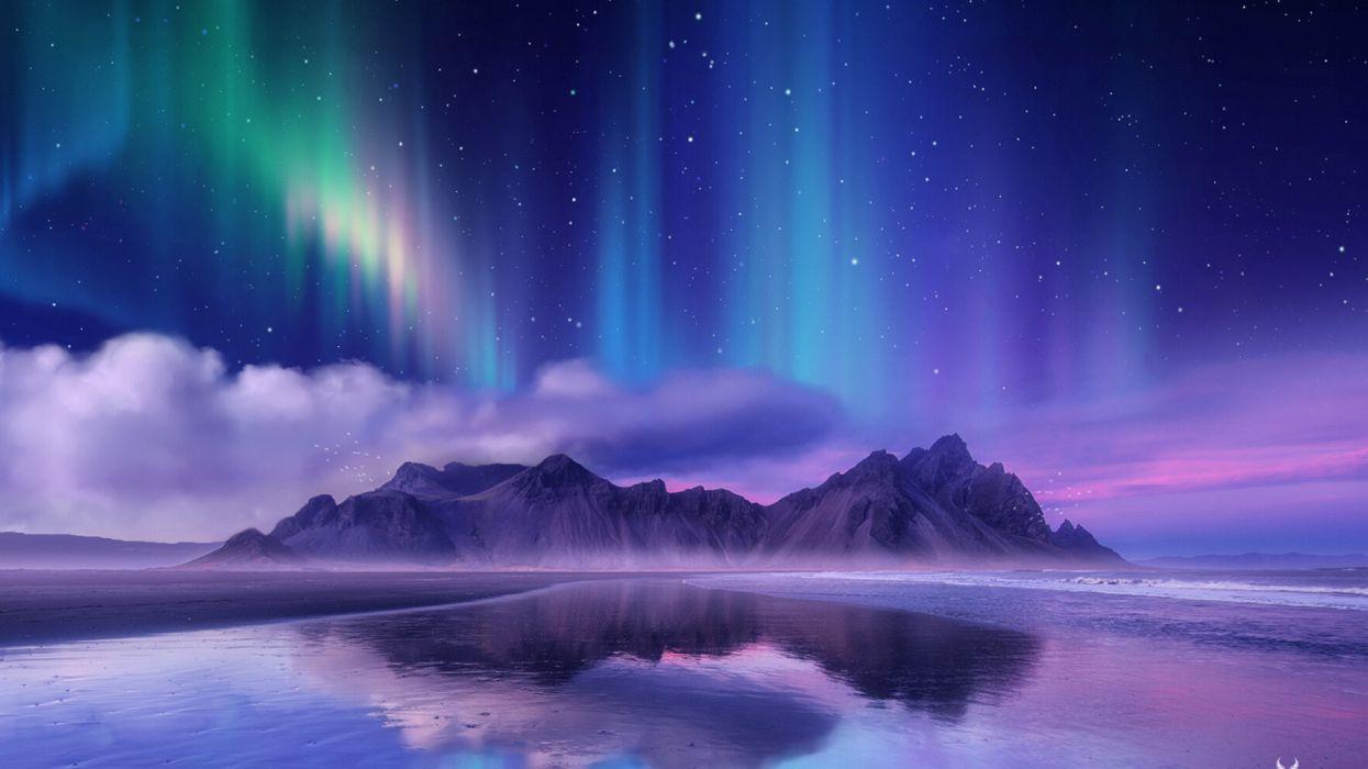 nature aurora borealis near sea wallpaper