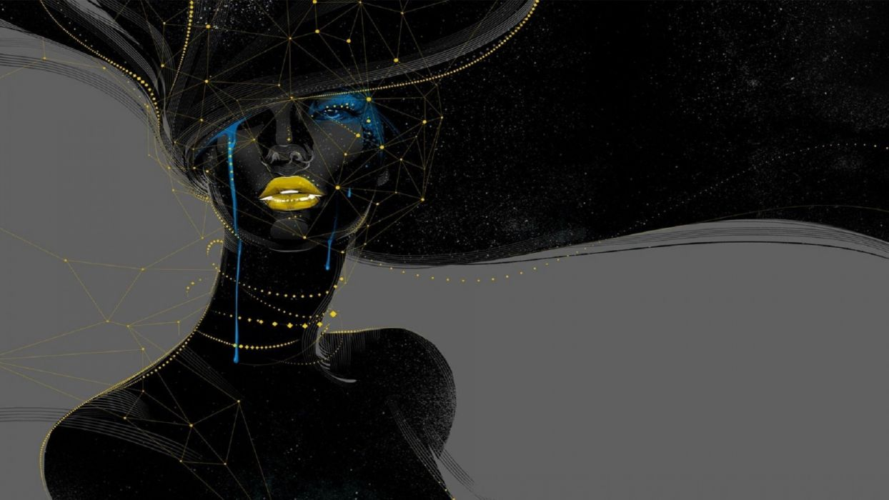 geometry abstact women black wallpaper
