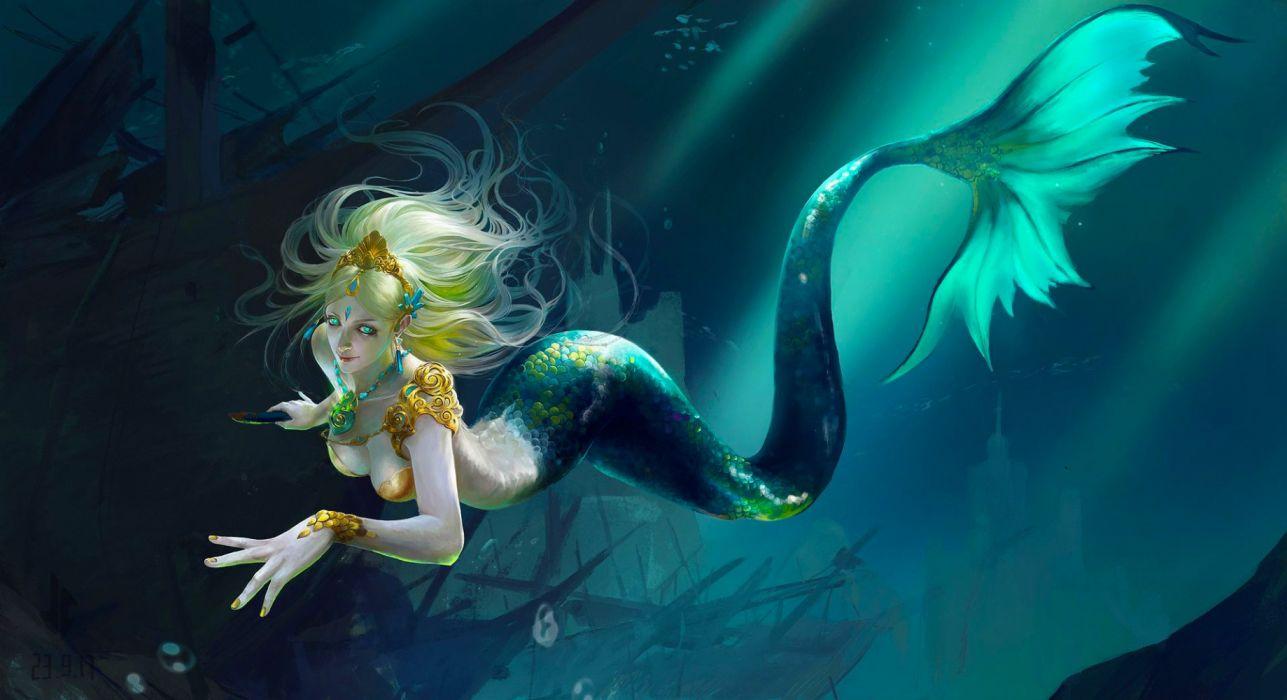 girl mermaid fantasy digital siren woman art pretty wallpaper
